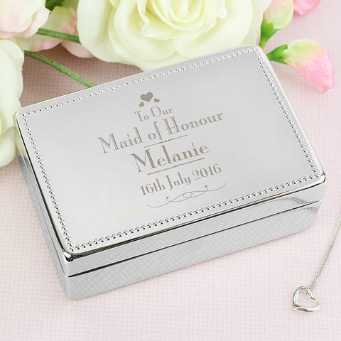 Buy Personalised Decorative Wedding Maid of Honour Jewellery Box