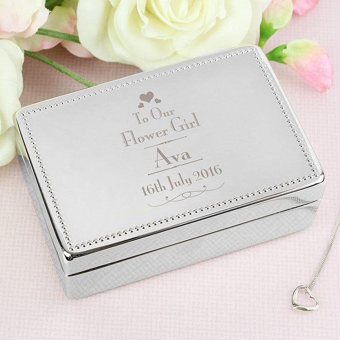 Personalised Decorative Wedding Flower Girl Jewellery Box, Health & Beauty by Low Cost Gifts