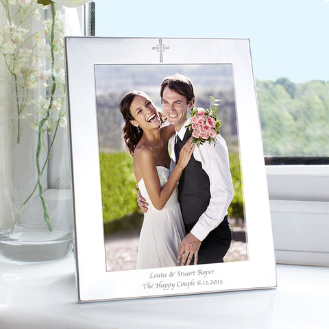 Buy Personalised Silver 5x7 Cross Photo Frame