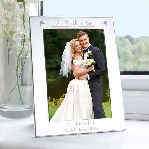 Personalised Silver 5x7 Decorative Our Wedding Day Photo Frame | ShaneToddGifts.co.uk