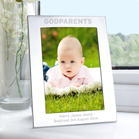 Buy Personalised Silver 5x7 Godparents Photo Frame