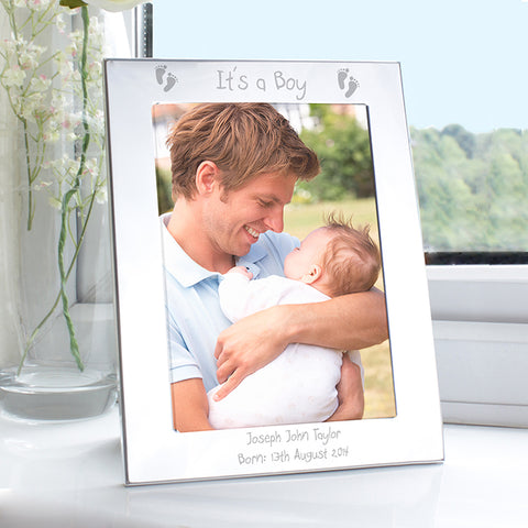Buy Personalised Silver 5x7 Footprints Photo Frame