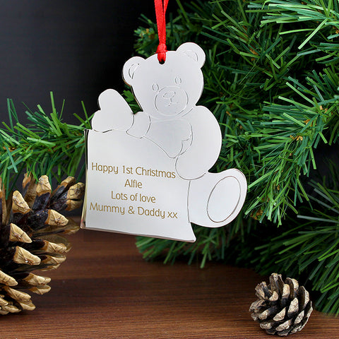 Buy Personalised Teddy Tree Decoration