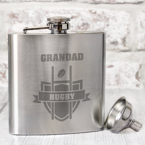 Personalised Rugby Hip Flask | ShaneToddGifts.co.uk