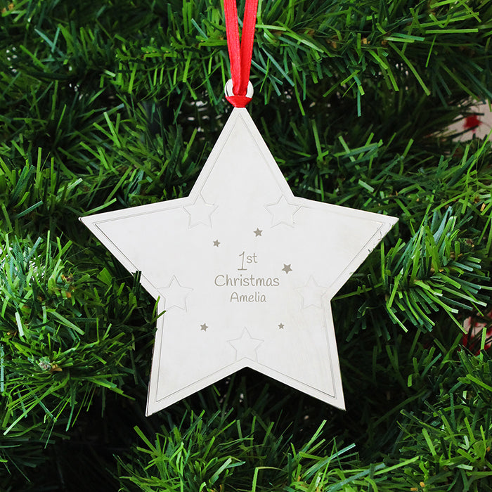Personalised 1st Christmas Star Tree Decoration - Shane Todd Gifts UK