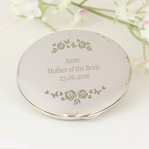 Buy Personalised Vintage Rose Compact Mirror