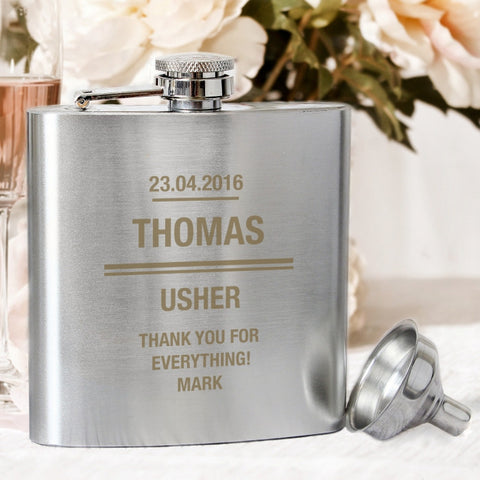 Buy Personalised Any Message Stainless Steel Hip Flask