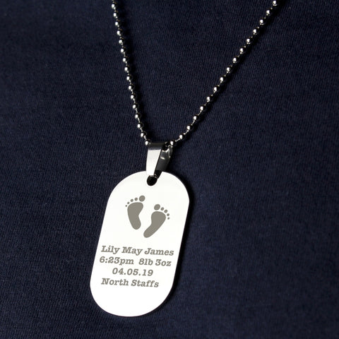 Buy Personalised Footprints Stainless Steel Dog Tag Necklace