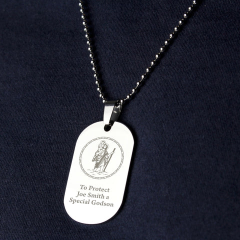 Buy Personalised St ChristopHer Stainless Steel Dog Tag Necklace