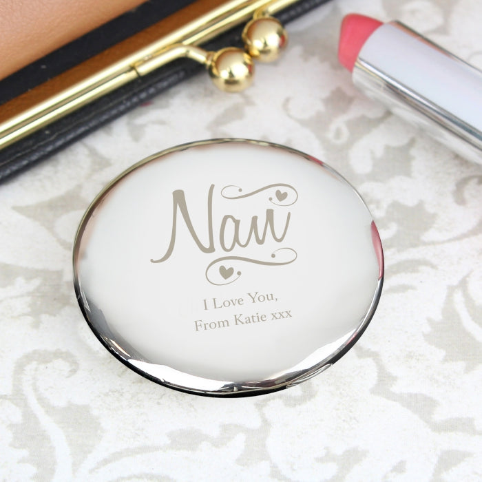 Personalised Nan Swirls & Hearts Compact Mirror, Makeup Tools by Low Cost Gifts