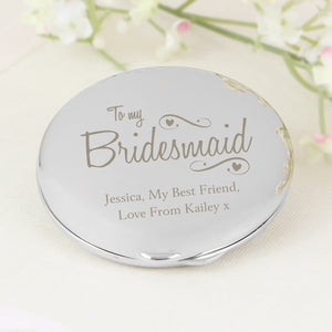 Personalised Bridesmaid Swirls & Hearts Compact Mirror