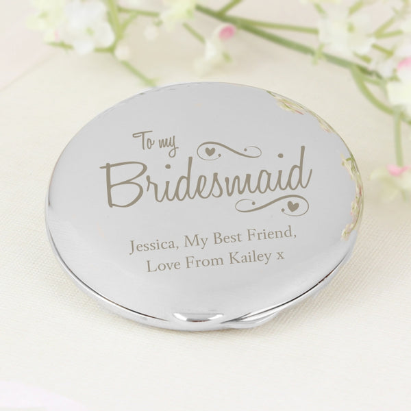Buy Personalised Bridesmaid Swirls & Hearts Compact Mirror
