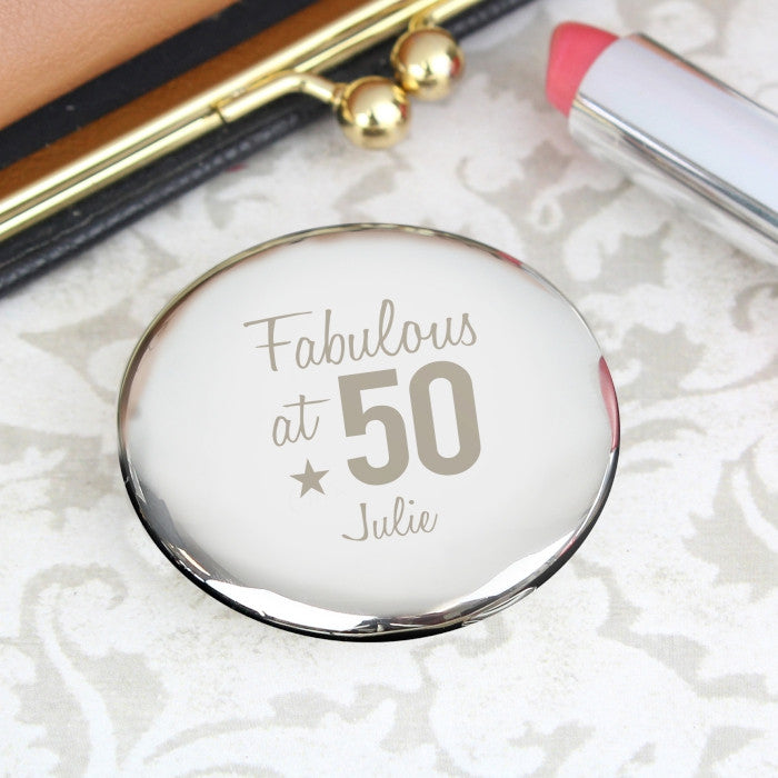 Personalised Fabulous Birthday Big Age Compact Mirror, Makeup Tools by Low Cost Gifts