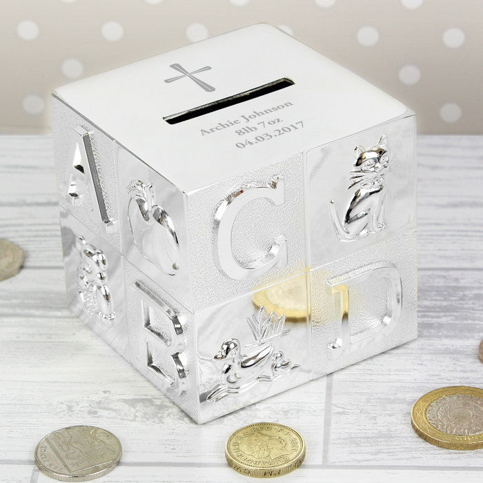 Personalised Cross ABC Money Box - Shane Todd Gifts UK