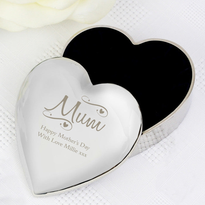 Personalised Mum Swirls & Hearts Trinket Box, Health & Beauty by Low Cost Gifts