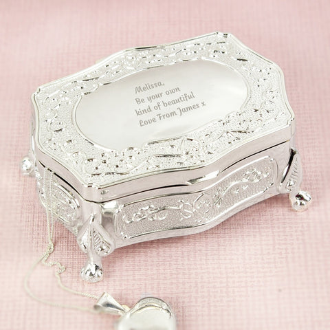 Buy Personalised Any Message Small Antique Trinket Box