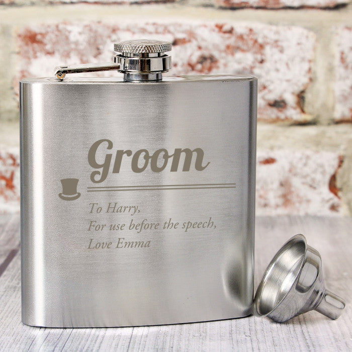 Buy Personalised Groom Hip Flask