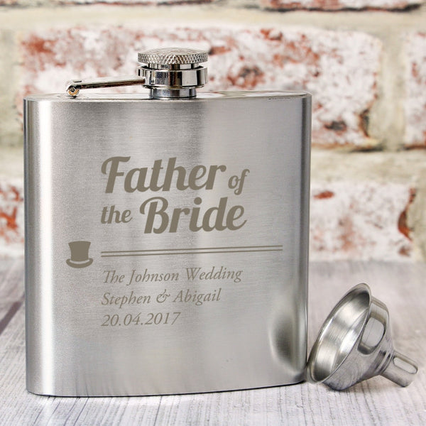 Buy Personalised Father of the Bride Hip Flask