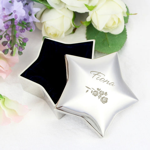 Buy Personalised Vintage Rose Star Trinket Box