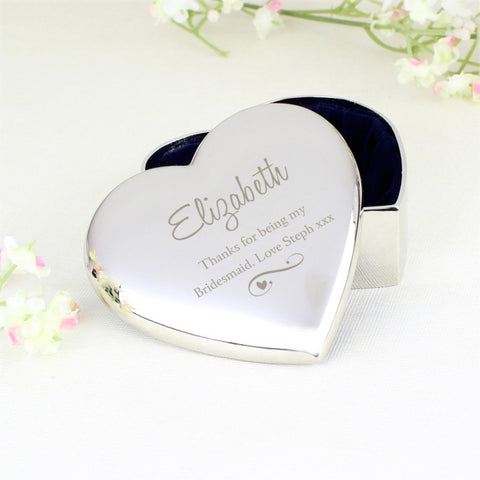Buy Personalised Any Message Swirls & Hearts Heart Trinket Box