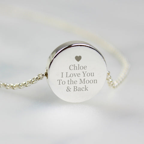 Personalised Silver Plated Any Message Disk Necklace