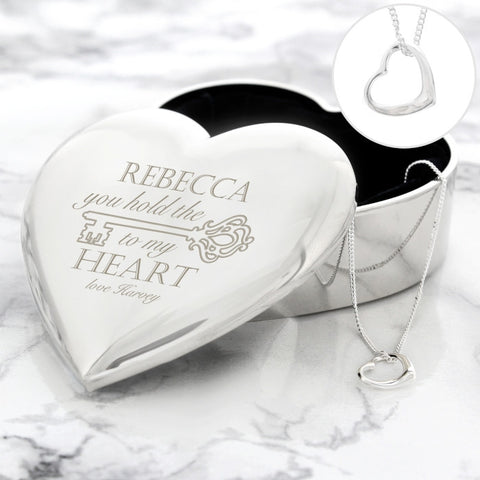 Buy Personalised Key to My Heart Trinket Box & Necklace Set