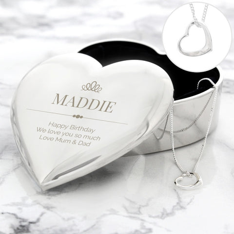 Personalised Elegant Crown Heart Trinket Box & Necklace Set - Shane Todd Gifts UK