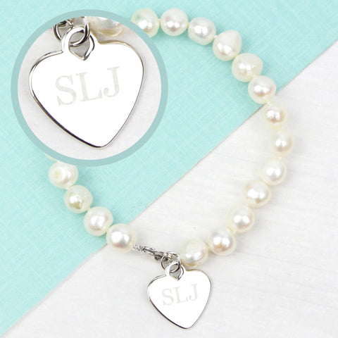 Personalised White Freshwater Pearl Initial Bracelet | ShaneToddGifts.co.uk