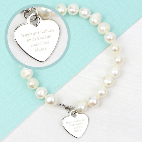 Buy Personalised White Freshwater Pearl Message Bracelet