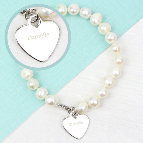 Personalised White Freshwater Pearl Name Bracelet