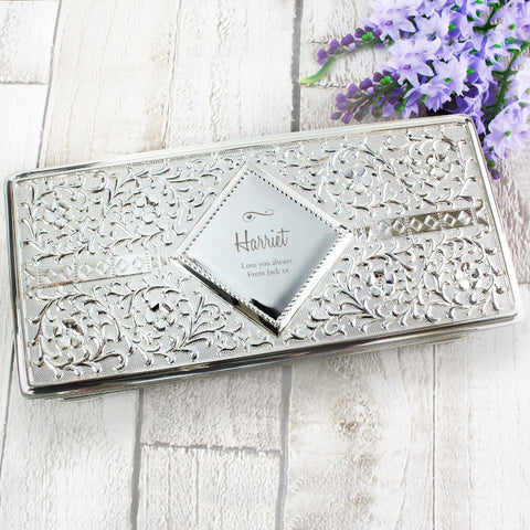 Personalised Swirls & Hearts Antique Silver Plated Jewellery Box - Shane Todd Gifts UK
