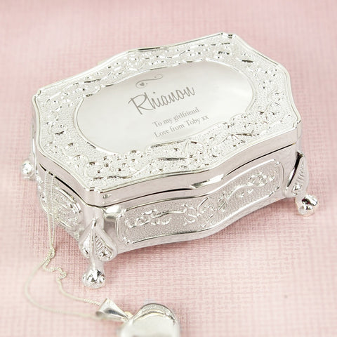 Buy Personalised Swirls & Hearts Small Antique Trinket Box