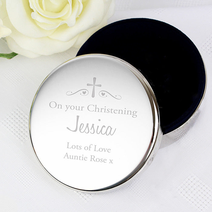 Personalised Religious Swirls & Hearts Round Trinket Box, Health & Beauty by Low Cost Gifts