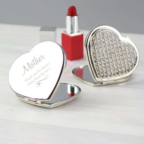 Buy Personalised Swirls & Hearts Diamante Heart Compact Mirror