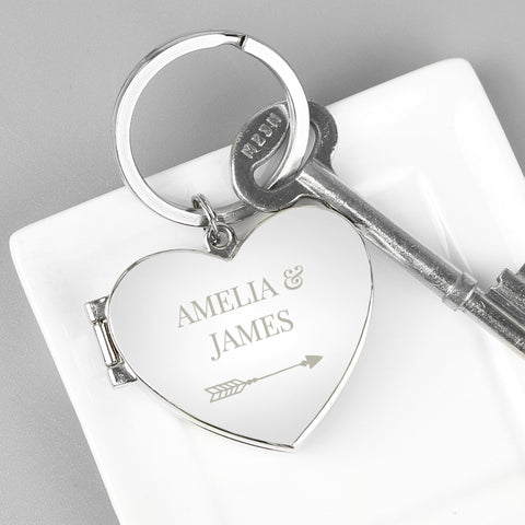 Buy Personalised Arrow Heart Photoframe Keyring