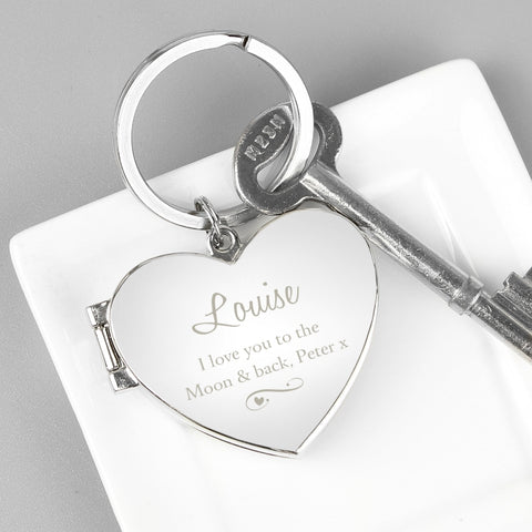 Buy Personalised Swirl Heart Photoframe Keyring