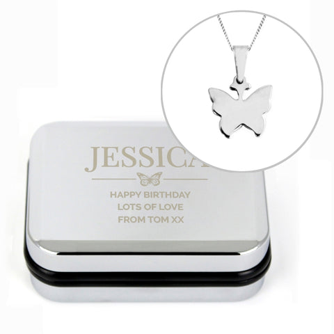 Buy Personalised Box and Butterfly Necklace