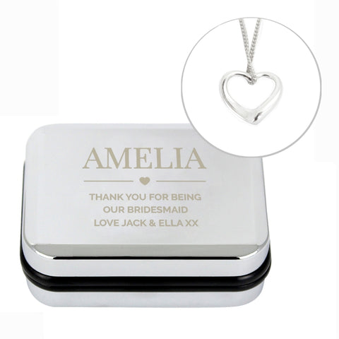 Buy Personalised Box and Heart Necklace