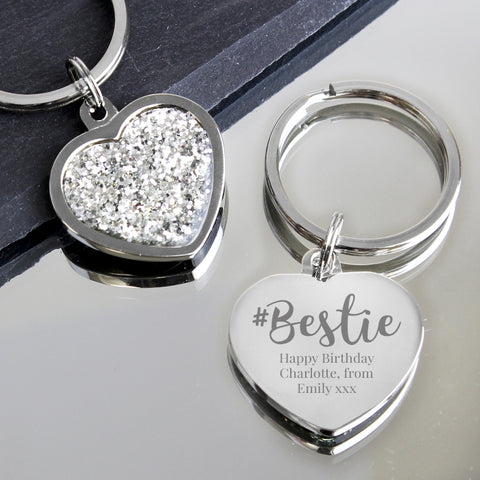 Buy Personalised #Bestie Diamante Heart Keyring