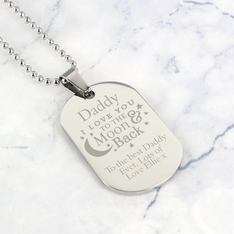 Personalised 'To The Moon & Back...' Stainless Steel Dog Tag Necklace