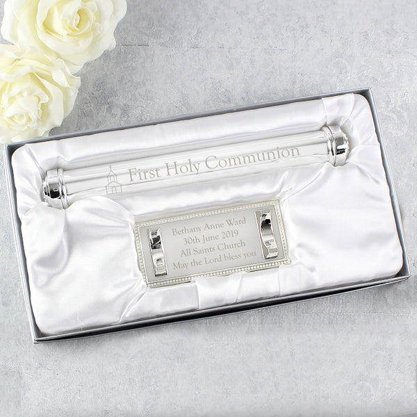 Personalised First Holy Communion Silver Plated Certificate Holder