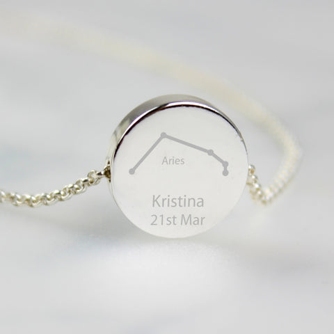Buy Personalised Aries Zodiac Star Sign Silver Tone Necklace