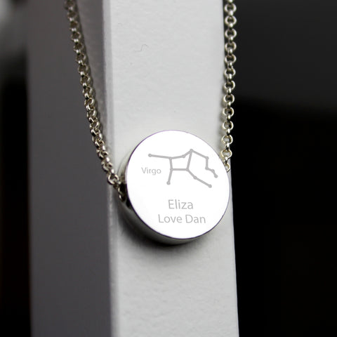 Buy Personalised Virgo Zodiac Star Sign Silver Tone Necklace