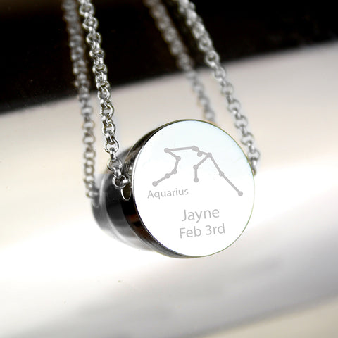 Buy Personalised Aquarius Zodiac Star Sign Silver Tone Necklace