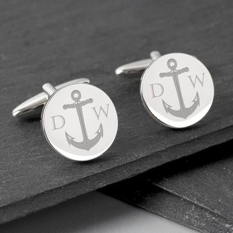 Buy Personalised Anchor Round Cufflinks
