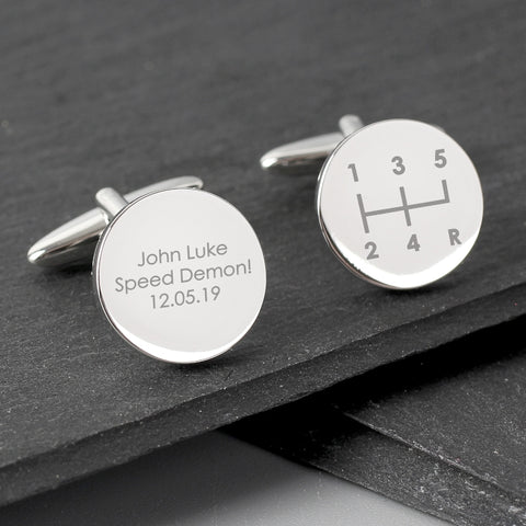 Buy Personalised Gear Stick Round Cufflinks