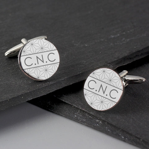 Buy Personalised Geometric Round Cufflinks
