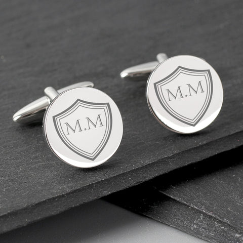 Buy Personalised Shield Round Cufflinks