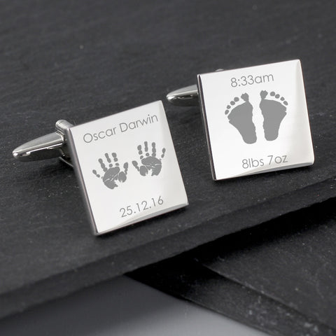 Buy Personalised Hands and Feet New Baby Square Cufflinks