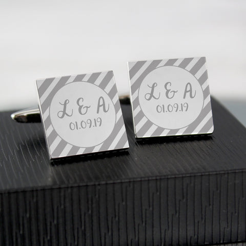 Buy Personalised Stripes Square Cufflinks